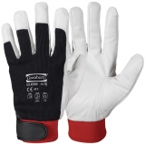 Pig Grain Leather with Cotton Back & Velcro Closure, Winter Lined Assembly Winter Gloves